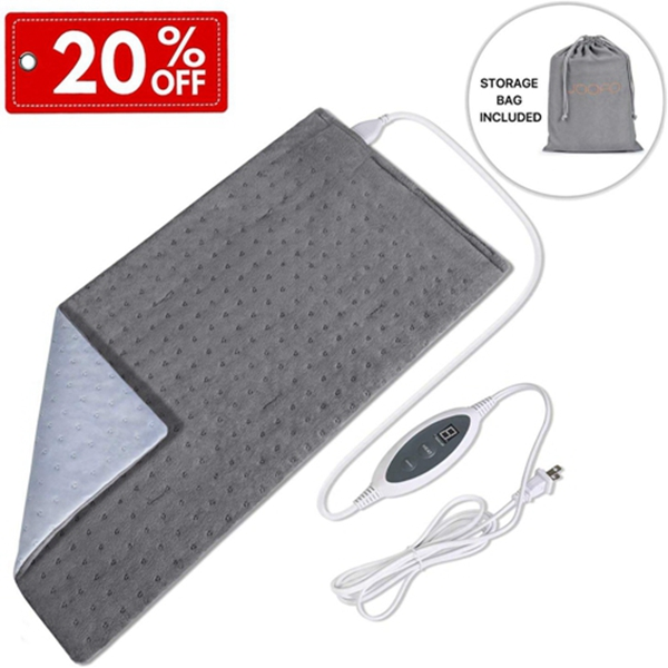 "Racdde Heating Pad for Back Pain and Cramps Relief with Fast-Heating & 4 Temperature Settings, Moist Heat Therapy Option, Auto-Off and Machine Washable, 12"" x 24"" Ultra-Soft Heat Therapy Pad"