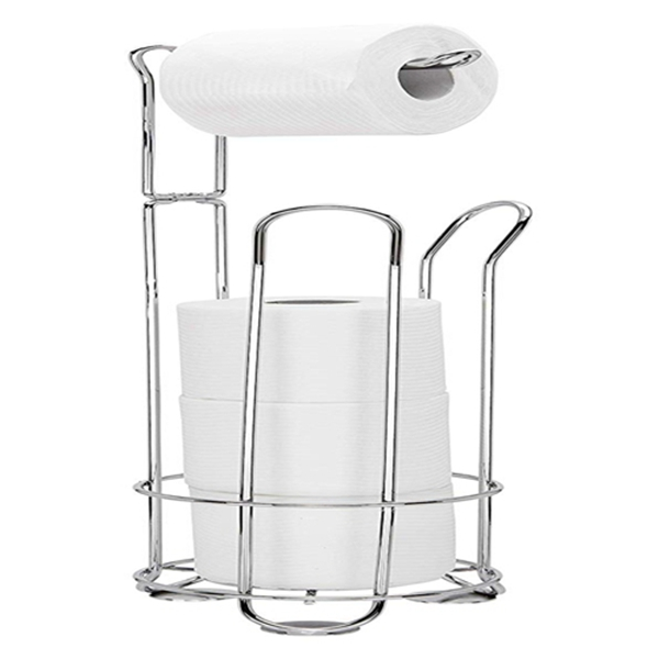 Racdde Deluxe Bathroom Toilet Tissue Paper Roll Storage Holder Stand (Chrome)