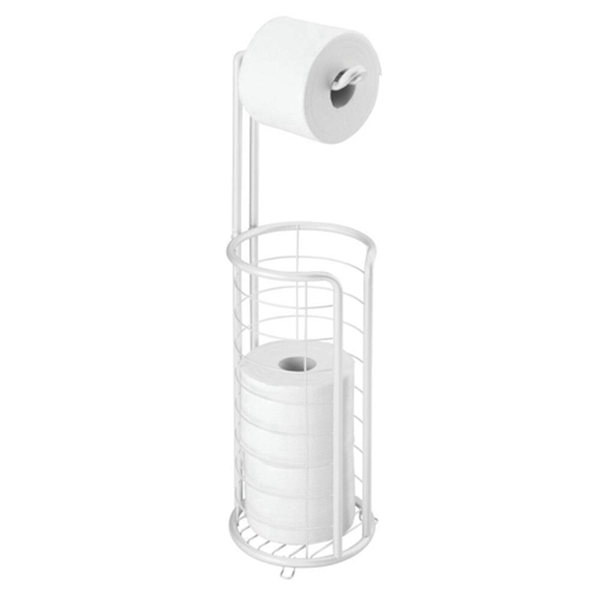 Racdde Modern Metal Freestanding Toilet Paper Roll Holder Stand and Dispenser with Storage for 3 Rolls of Reserve Toilet Tissue - for Bathroom Storage Organizing - Holds Mega Rolls - White