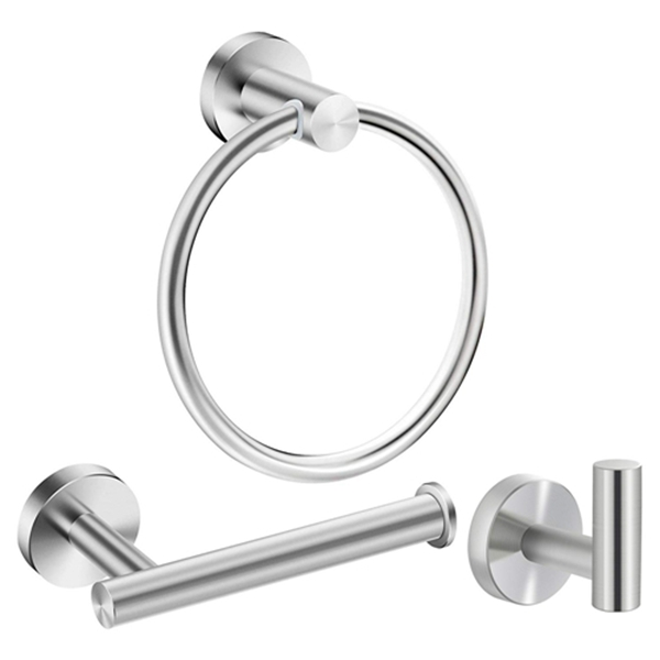 Racdde Bathroom Hardware Accessories Set Stainless Steel Brushed Nickel 3- Piece Set Includes Hand Towel Ring, Toilet Paper Holder, Robe Hook Heavy Duty Paper Towel Holder Hanger