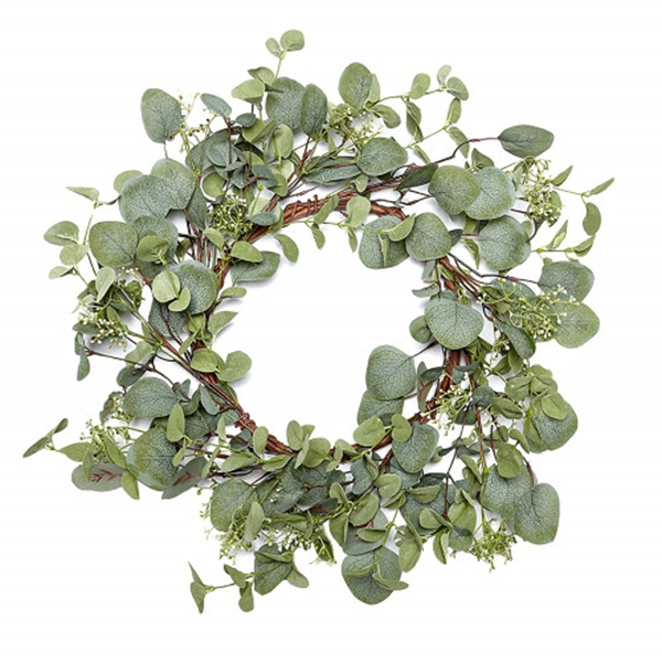 Racdde Green Leaf Eucalyptus Wreath for Summer/Fall Festival Celebration Front Door/Wall/Fireplace Laurel/Eucalyptus Hanger Home Relaxed Decor