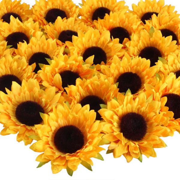 24pcs Artificial Sunflower Heads Silk Flower Faux Floral Yellow Gerber Daisies for Wedding Table Centerpieces Home Kitchen Wreath Hydrangea Cupcakes Topper Decorations