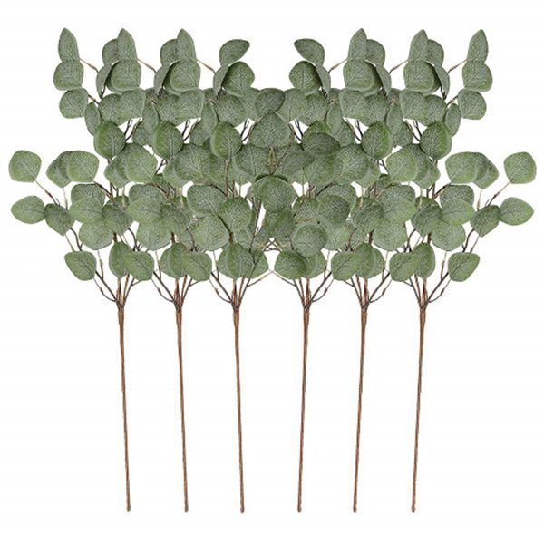 Racdde 6Pcs Artificial Silver Dollar Eucalyptus Leaf Spray in Green Tall Artificial Greenery Holiday Greens Christmas Greenery
