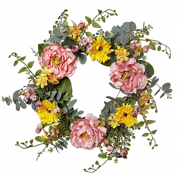 Racdde 20 Inch Artificial Peony Flower Wreath Silk Summer Wreath for The Front Door, Home Decor in Fall
