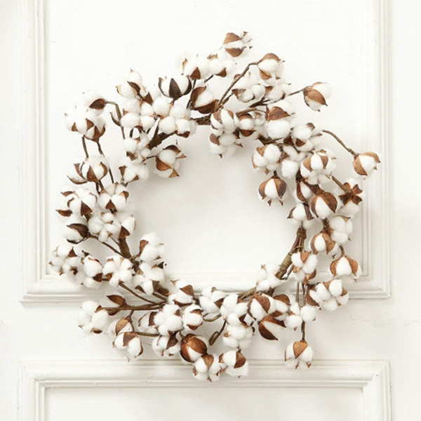 Racdde 24 Inch Real Cotton Wreath Farmhouse Decor Christmas Vintage Wreath