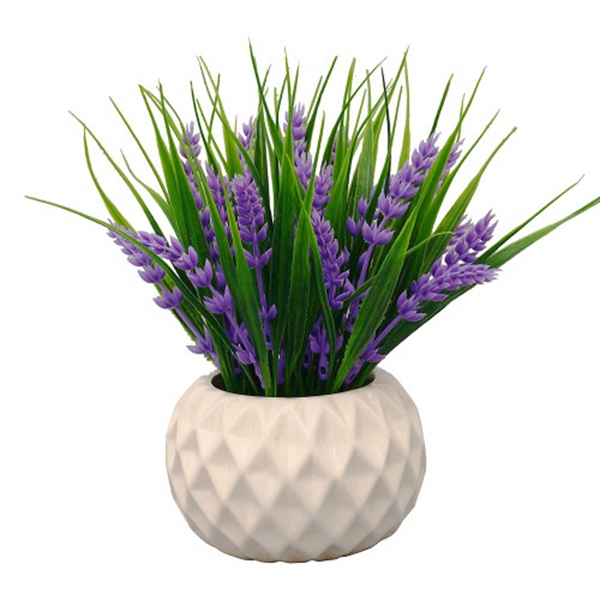 Racdde Modern Artificial Potted Plant for Home Decor Lavender Flowers and Grass Arrangements Tabletop Decoration