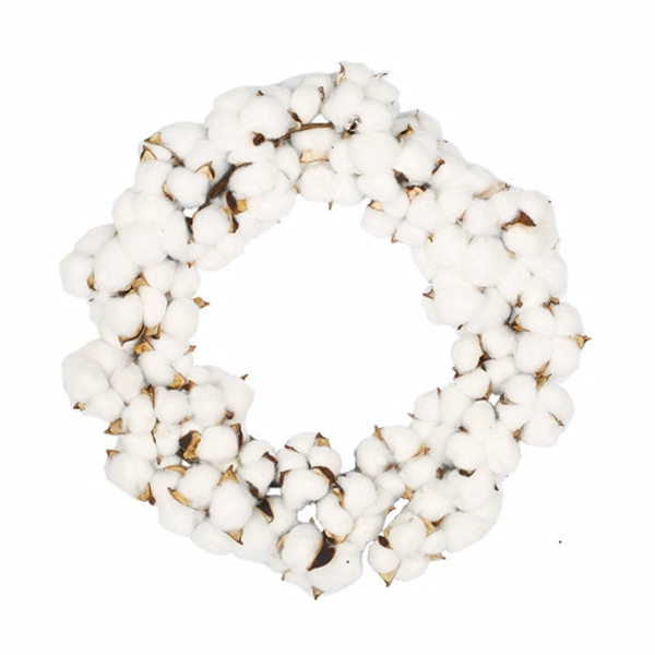 Racdde 16 Inch Real Cotton Wreath Farmhouse Decor Christmas Vintage Wreath - Adjustable Stems