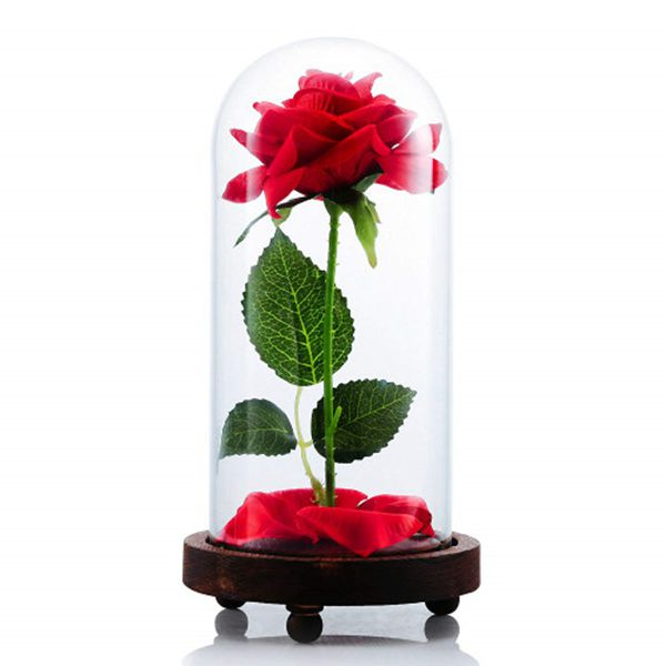 "Racdde ""Beauty and The Beast Artificial Silk Rose in Glass Dome on a Wooden Base Gift for Valentine's Day Anniversary Birthday"