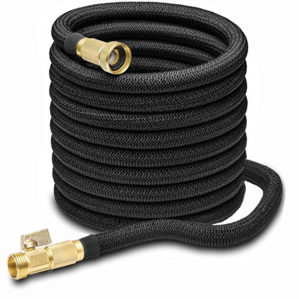 Racdde 50FT Garden Hose - Expandablee Water Hose 50FT with Double Latex Core, 3/4 Solid Brass Fittings& Extra Strength Fabric Protection for All Watering Needs - Flexible Garden Hose (Black, 50)