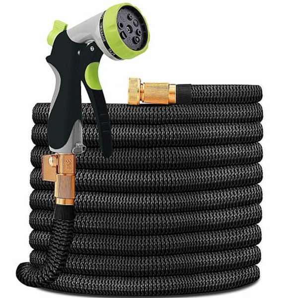 Racdde Garden Hose Lightweight Durable Flexible Water Hose with 3/4 Nozzle Solid Brass Connector and High Pressure Water Spray Nozzle Expanding Hoses (50 FT)