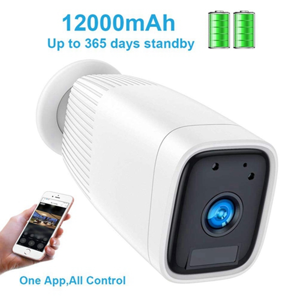 Wireless Rechargeable Battery Camera,Racdde 1080P Outdoor Security CCTV Camera System,Motion Detect,Night Vision,IP66 Waterrproof,12000mAh Battery,2-Way Audio Wire-Free Security IP Camera (White)