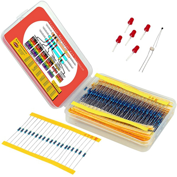 Racdde Resistor Assortment Kit - Set of 600 Assorted Resistors from 10 Ohm to 1 MOhm in a Box- Metal Film Resistors Variety Pack with 30 Values Plus Thermistor, Photoresistor and 5 LEDs from Plusivo