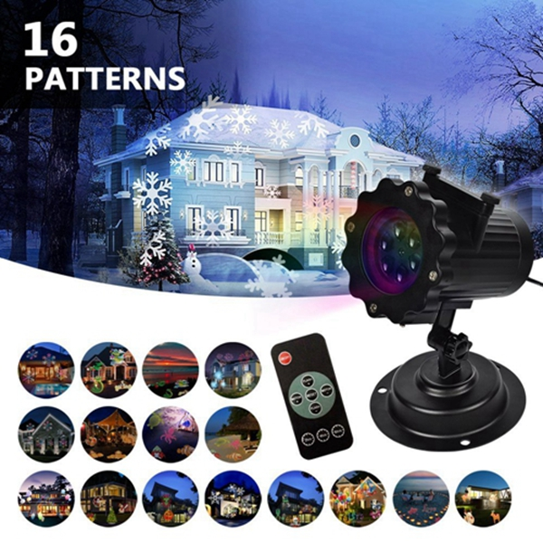 Racdde Christmas Lights Projector - 2018 Upgrade Version 16 Patterns LED Projector Landscape lamp Remote Control and Waterproof Perfect for Halloween or Christmas