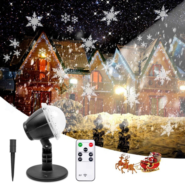 Racdde Christmas Projector Lights Outdoor LED Snowflake Projector Waterproof Snowfall Projection with Wireless Remote Snow Flurries Decorative Projector for Halloween/Christmas/Holiday/Yard Party/Wedding