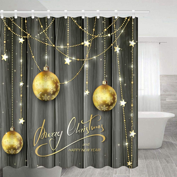 """Racdde Shower Curtain Bath Room Fabric Shower Curtain 69""""X70"""" Polyester with Shower Room Christmas Gold Color Ball Decoration"""