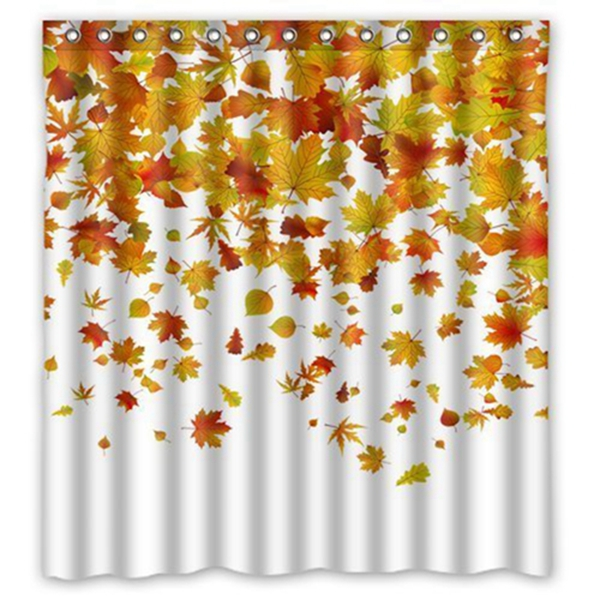 Racdde  Autumn Falling Maple Leaves Polyester Fabric Bathroom Shower Curtain Size 66 x 72 Inches