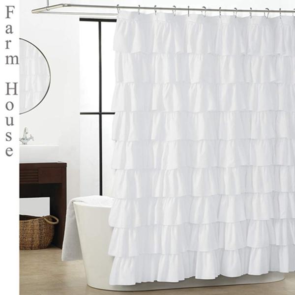 Racdde Ruffle Shower Curtain - White for Bathroom 72 x 72 Inches Texture Fashion