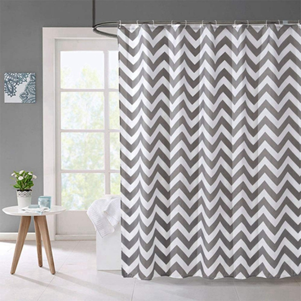 Racdde Shower Curtain, Heavy Duty Waterproof Fabric Shower Curtain with Lead Strip and Rust-Resistant Grommet Holes for Bathroom - Gray Waves