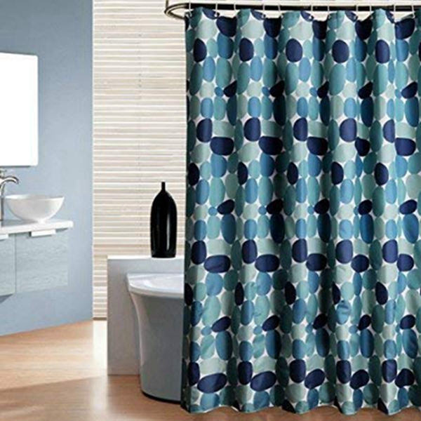 Racdde Pebble Stall Shower Curtain, Blue and Grey Cobble Stone 36 X 72 Fabric Shower Curtain Heavy-Duty Waterproof and Polyester Bathroom Curtains for Shower Bathtubs