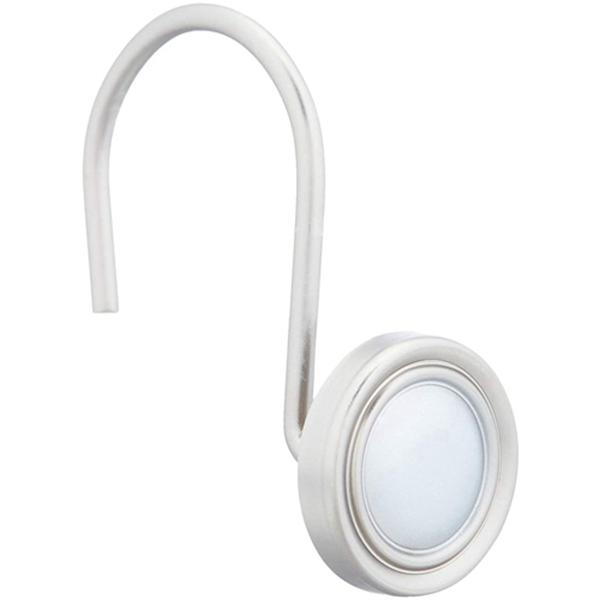 Racdde Shower Curtain Hooks - Classic Button Hooks, Nickel