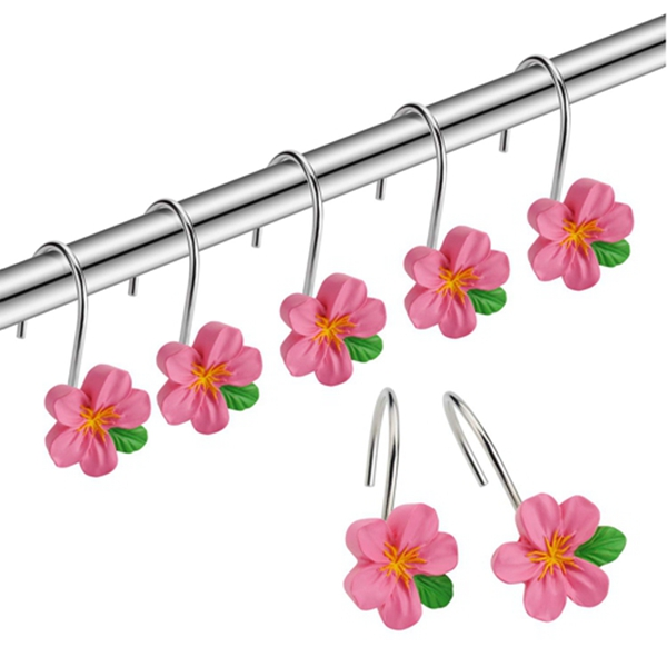Racdde Shower Curtain Hooks Rings, Metal Decorative Resin Hooks Shower Curtain Rings for Bathroom Shower Rods Curtain and Liner, Pink Flower, 12 PCS