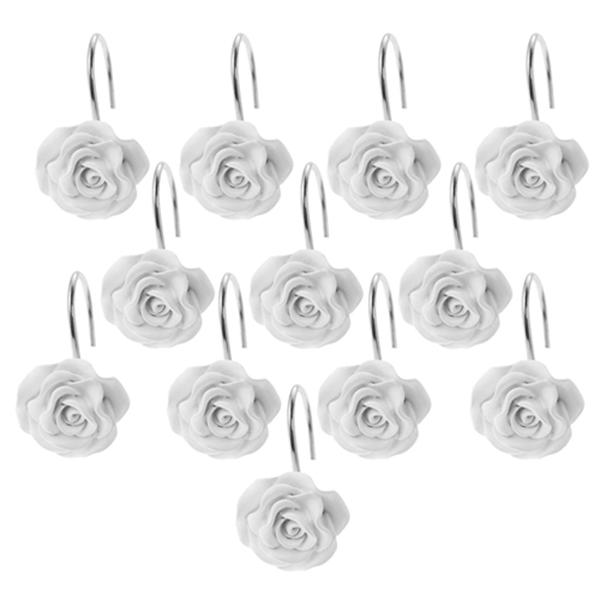 Racdde 12 PCS Home Fashion Decorative Anti Rust Shower Curtain Hooks Rose Design Shower Curtain Rings Hooks (White)