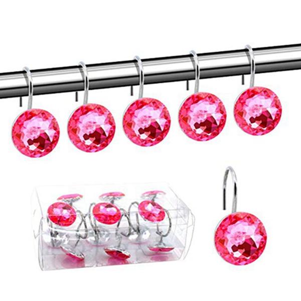 Racdde Acrylic Fashion Decorative Home Rolling Shower Curtain Hooks Rhinestones Bathroom Bath Baby Room Bedroom Living Room Decor Set of 12 Rings (Pink)