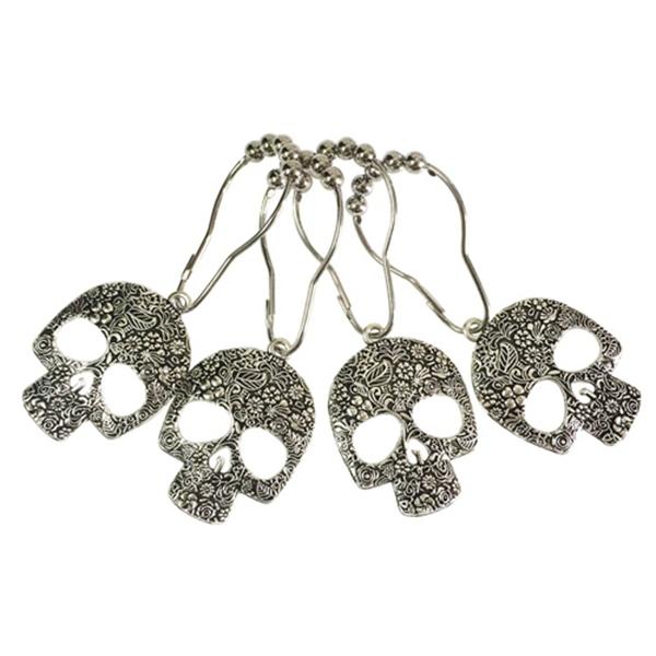 Racdde Set of 12 Sugar Skull Shower Curtain Hooks Decorative Home Bathroom Stainless Steel Rustproof Skeletons Shower Curtain Rings Decor Accessories (Silver)