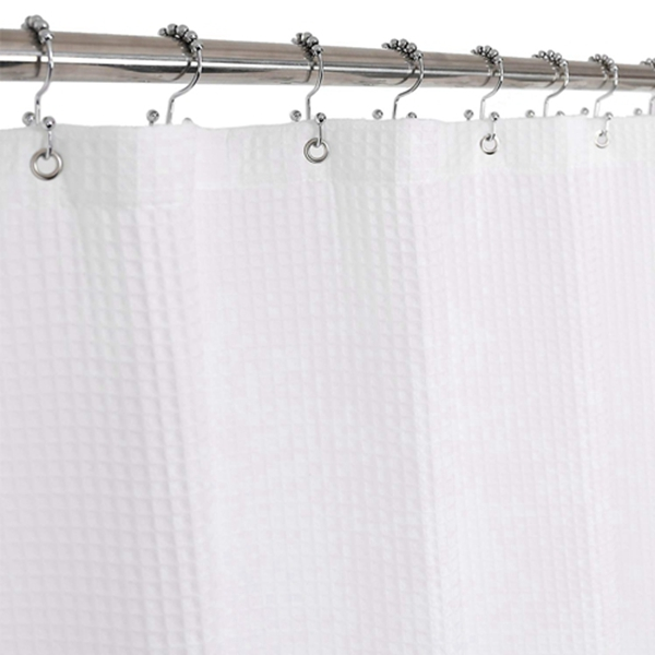 Racdde Waffle Weave Shower Curtain Cotton Blend Fabric, Honeycomb, Hotel Collection, Spa, Washable, White, 72 x 72 inch