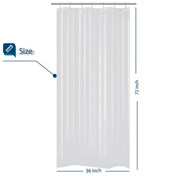 Racdde Small Shower Curtain for Shower Stall Size 36 x 72 inches, PEVA, Waterproof, PVC Free, Metal Grommets, Clear, 36x72
