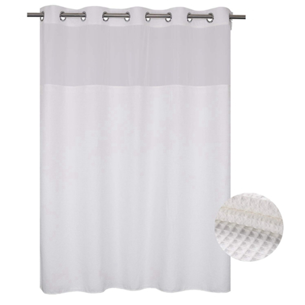Racdde Fabric Shower Curtain No Hooks Needed, Cotton Blend, With Span-in Repalcement Liner - Hotel Grade, Water Repellent, Machine Washable - 71x74, White