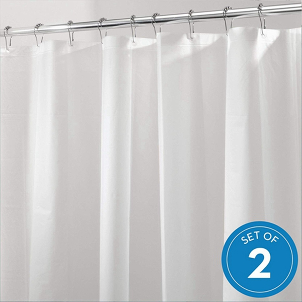 Racdde  PEVA Plastic Shower Curtain Liner, Mold and Mildew Resistant Plastic Shower Curtain for use Alone or With Fabric Curtain, 72 x 72 Inches, Set of 2, White