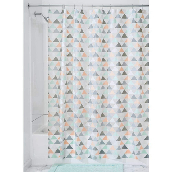 """Racdde Decorative Triangle Print - Waterproof, Mold/Mildew Resistant, Heavy Duty PEVA Shower Curtain Liner, for Bathroom Showers, Stalls and Bathtubs - 72"""" x 72"""" - Coral/Gray/Mint Green"""
