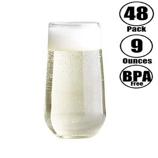 Racdde 48 piece Stemless Unbreakable Crystal Clear Plastic Wine Glasses Set of 48 (9 Ounces)