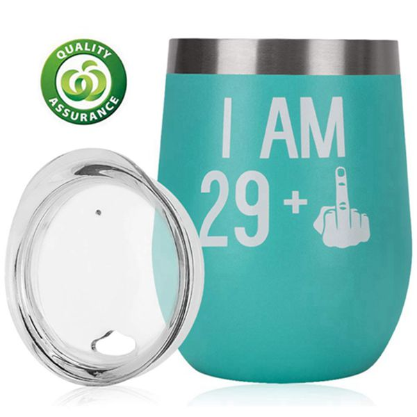 Racdde 30th Birthday Gifts For Women Men|30th Bday For Her Him|29 + One Finger|Funny Wine Gift Idea| 12oz Insulated Stainless Steel Tumbler with lid|Funny Turning 30 Gift |Anniversary Gift Idea for Him, Her