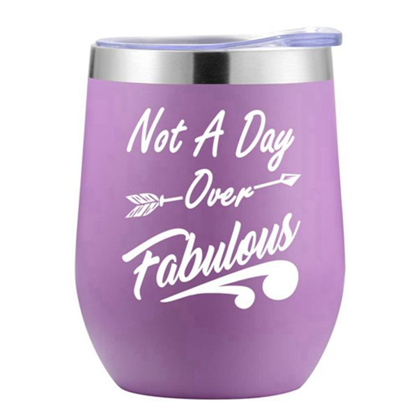 Racdde Birthday Gifts for Women - Not a Day Over Fabulous Wine Tumbler with BPA-Free Lid - Perfect Wine Gifts for Christmas, Mother's Day, Valentine's Day for Women, Wife, Mother, Her, Female - 12oz Capacity