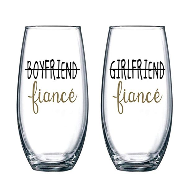 Racdde Boyfriend and Girlfriend 15 oz Stemless Wine Glasses (Set of 2) - Unique Engaged Wine Glasses for Fiance – Unique Engagement Gifts For Him and Her