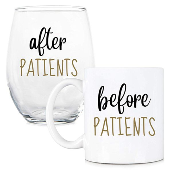 Racdde Before Patients, After Patients 11 oz Coffee Mug and 15 oz Stemless Wine Glass Set - Unique Gift Idea for Dentist, Dental, Medical, Hygienist, Doctor, Physician, Nurse - Perfect Graduation Gifts