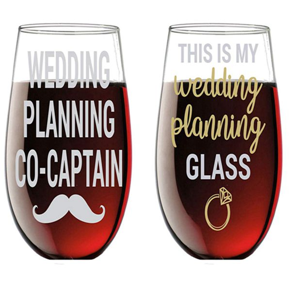 Racdde This is My Wedding Planning Glass/Planning Co-Captain - Funny 15oz Crystal Wine Glass - Stemless Wine Glass Couples Sets - Perfect idea for Bridal and Engagement Gifts