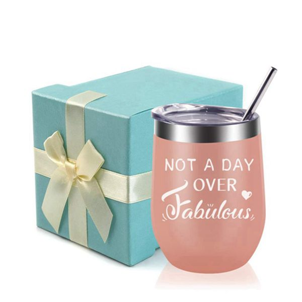 Racdde Not A Day Over Fabulous-Funny Birthday,Anniversary Gift Ideas for Women,Best Friends,Mom,Wife,Her,Coworkers Sister- EDEESKY 12oz Stemless Insulated Wine Tumbler with Gift Lid