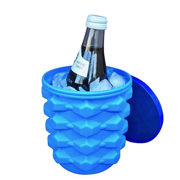 Racdde The Ultimate Ice Cube Maker Silicone Bucket with Lid Makes Small-Size Nugget Ice Chips for Soft Drinks, Cocktail Ice, Wine On Ice, Crushed Ice Maker Cylinder Ice Trays, Ice Cup Maker Mold, Ice Holder