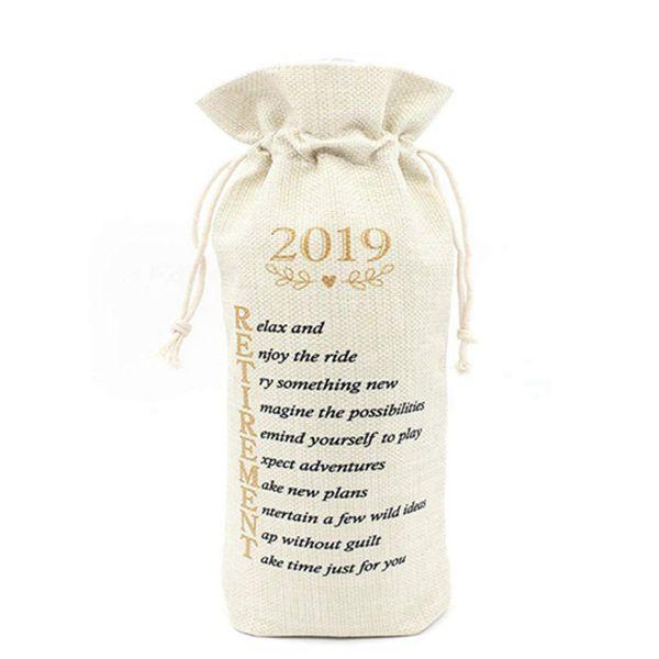 Racdde Retirement Gift Wine Bags-Presents for Retired Coworker Gift for Retired Teacher Women Gift for Retired Boss-Cotton linen Drawstring Wine bags
