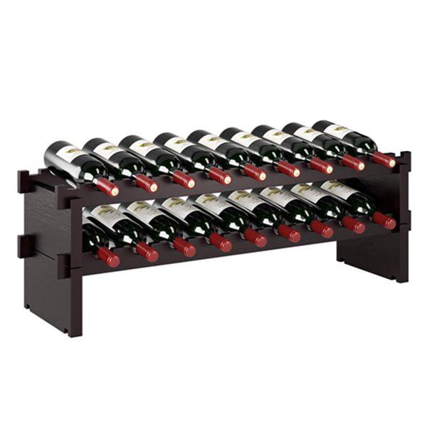 """Racdde 18 Bottle Stackable Wine Rack - (33.7"""" X 9.4"""" X 11.2"""") 100% Natural Bamboo 2-Tier Wood Wine Display Rack Free Standing Countertop Bottles Storage Shelf Dark Espresso HMC-BA-007"""