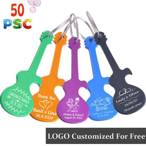 Racdde 50pcs Personalized Engraved Bottle Openers Key Chain Wedding Favors Brewery, Hotel, Restaurant Logo Christmas Private Customized (50 PSC)