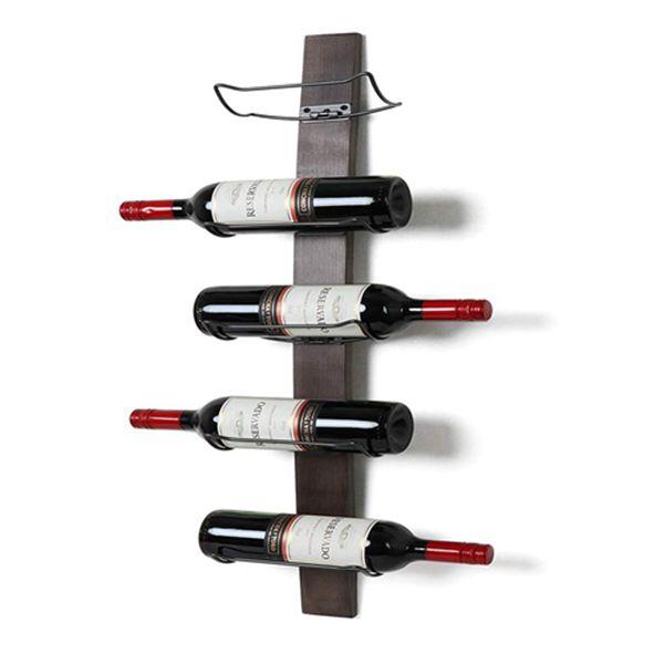 Racdde Wall Mounted Wine Rack - Wine Bottle Holder Towel Rack, 5 Wine Bottle Rack Holder Shelf Rustic Wood Wall Wine Rack No Need Assembly Brown