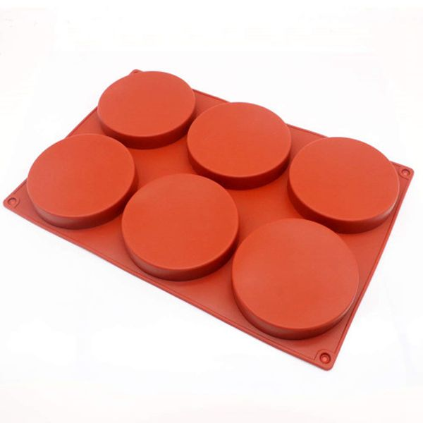 Racdde 6-Cavity Large Cake Molds Silicone Round Disc Resin Coaster Mold Non-Stick Baking Molds, Mousse Cake Pan, French Dessert, Candy, Soap