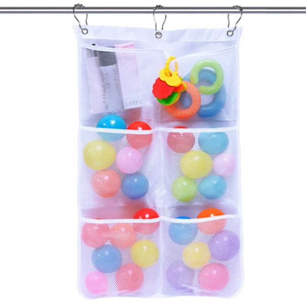 Racdde Mesh Shower Caddy Bath Organizer Shower Curtains Rod Hanging Caddies 6 Pockets with 3 Hanging Rings and 3 Hooks for Selection, 17 x 26 Inch, White
