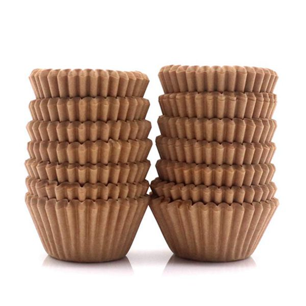Racdde Mini Cupcake Liners 300-Count Natural Baking Paper Cups 1.25 Inch Greaseproof Disposable Muffin Liners for Baking Muffin and Cupcake, Natural Color