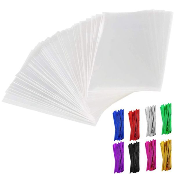 """Racdde 200Pcs Cellophane Treat Bags 3x4 inch Clear Lollipop Cake Pop Bag Thickness Resealable OPP Plastic Bags with 200 4"""" Twist Ties 8 Mix Colors for Cookies Candy Snack"""