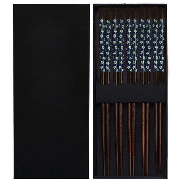 Racdde Chopsticks 5 Pairs Reusable Natural Wooden Chopstick Set 9.4 Inch Classic Flower Style Gift Set with Case, Dishwasher Safe